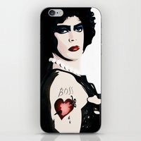 rocky horror picture show iPhone & iPod Skins featuring Dr Frank n Furter - Rocky Horror Picture Show by William Cuccio aka WCSmack