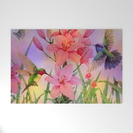 Painterly Hummingbirds And Flowers Welcome Mat