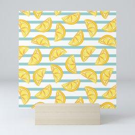 Summer beach vibes lemon striped pattern Mini Art Print