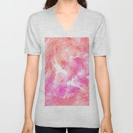 Trendy coral pink watercolor hand drawn palm tree  Unisex V-Neck