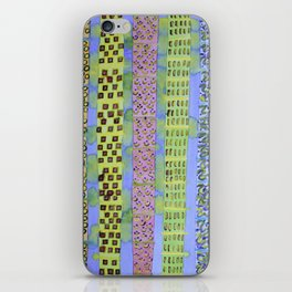 Blue Vertical Stripes and Ornaments  iPhone Skin