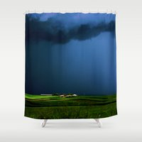 aelwen Shower Curtains featuring Wild, wild weather by Donuts