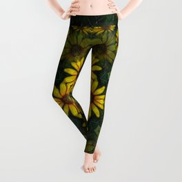 Large Yellow Wildflower Kaleidoscope Art 10 Leggings