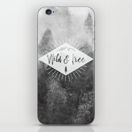 Wild And Free - Black and White Forest iPhone Skin