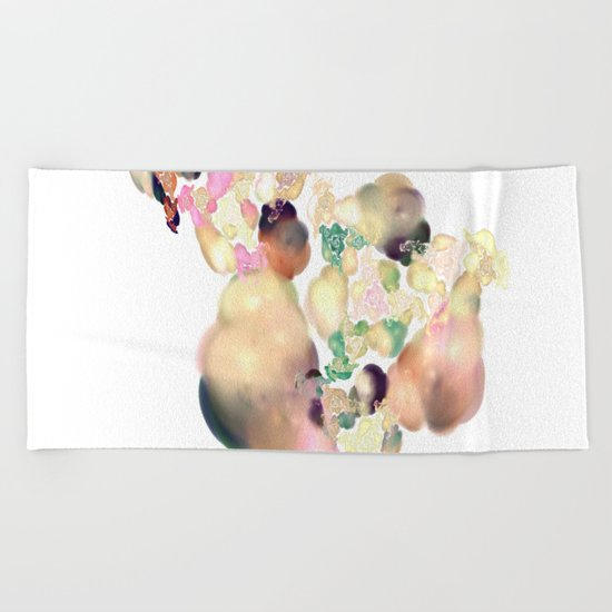 love space flowers Beach Towel