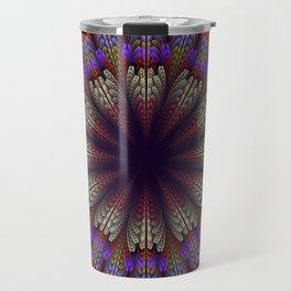 Floral mandala with tribal patterns in the petals Travel Mug
