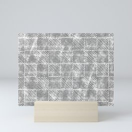 White and Black Distressed Diagonal Lines Pattern Vintage Unique Artistic Style Design Mini Art Print