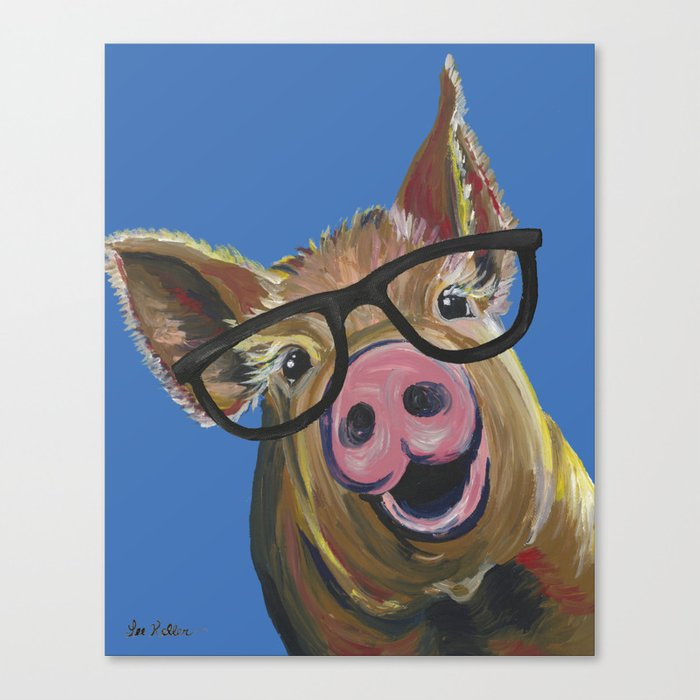 Pig With Glasses Blue Pig Painting Canvas Print By Leekeller Society6