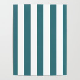 Ming blue - solid color - white vertical lines pattern Poster