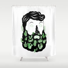 Cactus Beard Dude Shower Curtain