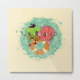 The Pond Lovers - Mr. Froggy and Ms Goldfish Metal Print