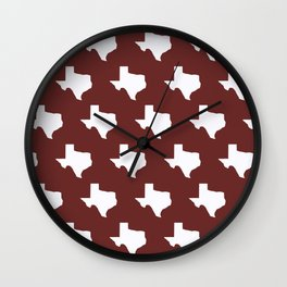 Maroon and White Texas Pattern Wall Clock