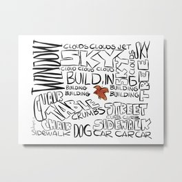 Bird in word cloud Metal Print