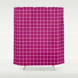 Jazzberry jam - violet color -  White Lines Grid Pattern Shower Curtain
