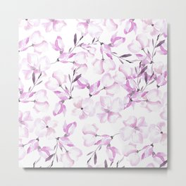Blush pink white watercolor hand painted elegant floral Metal Print