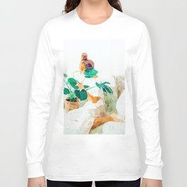 Me + Monstera #painting #minimal Long Sleeve T-shirt
