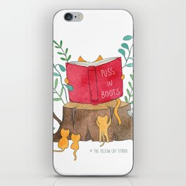 Cats reading in the forest - Puss in Boots - Watercolor illustration iPhone Skin