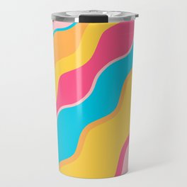 Brightly Colored Squiggly WavesPattern Travel Mug