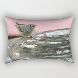 Kinglet at the Basin Rim Rectangular Pillow
