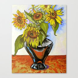 Sunflowers in a Black Vase by Amanda Martinson Canvas Print