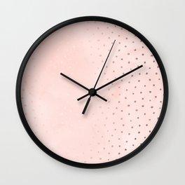 Rose Gold Pastel Pink Foil Paint Line Dots XXIII Wall Clock