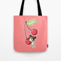 cherry Tote Bags featuring Cherry by Freeminds