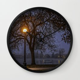 USA Denver Colorado Autumn Nature Lake Parks Bench night time Street lights Trees park Night Wall Clock