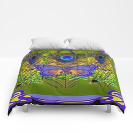 BLUE-PURPLE BUTTERFLY PEACOCK FEATHER PATTERNS Comforters