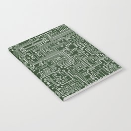 Circuit Board // Green & Silver Notebook
