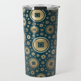 Lucky Gold Chinese coins pattern on dark teal Travel Mug