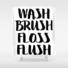 Brush Floss Shower Curtain