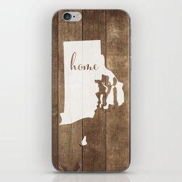 Rhode Island is Home - White on Wood iPhone Skin