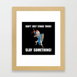 Knight Slay Something Cartoon Framed Art Print