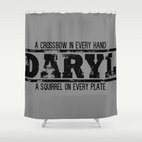 daryl dixon Shower Curtains featuring President Daryl Dixon (BLACK) by AJF89