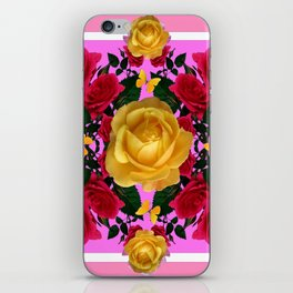 RED-YELLOW ROSES & YELLOW BUTTERFLIES ART iPhone Skin