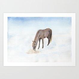 Horse in a winter landscape Art Print