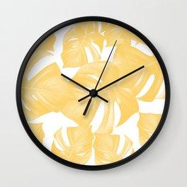Monstera Leaves Yellow Summer Vibes Pattern #1 #tropical #decor #art #society6 Wall Clock