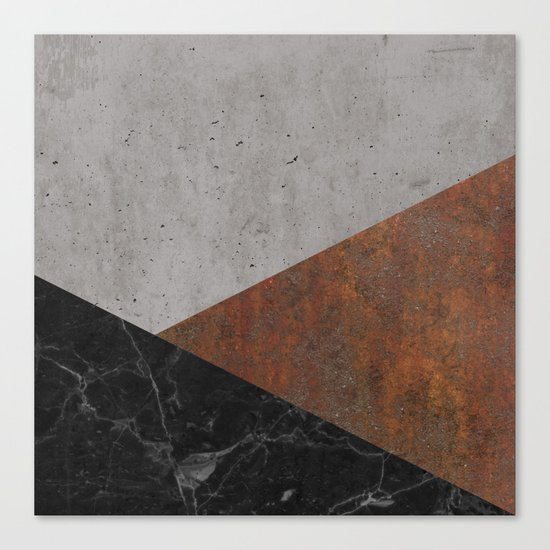 Concrete, rusted iron, marble abstract Canvas Print