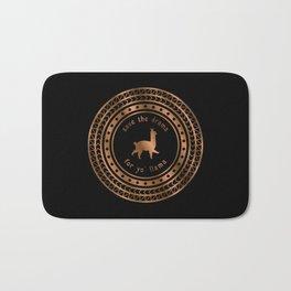 Save the Drama For Yo' Llama (Copper on Black) Bath Mat