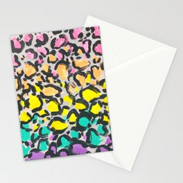 Rainbow Leopard Print Painting Stationery Cards