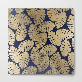 Modern chic  navy blue faux gold tropical leaves Metal Print