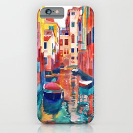 Venice Street with boats iPhone Case