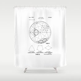 Buckminster Fuller 1961 Geodesic Structures Patent Shower Curtain