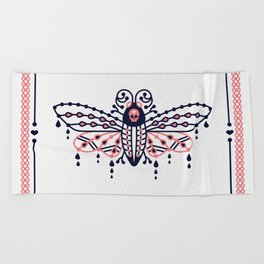 Death's Head Hawkmoth – Blush & Navy Palette Beach Towel