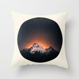 Glowing Star Sky Behind Snow Mountain Round Photo Vintage Throw Pillow