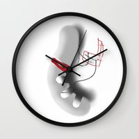 hot dog Wall Clocks featuring HOT DOG by  ECOLARTE