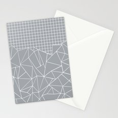 Abstract Outline Grid Grey Stationery Cards