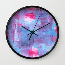 Crimson Clover, Abstract Monoprint Painting Wall Clock