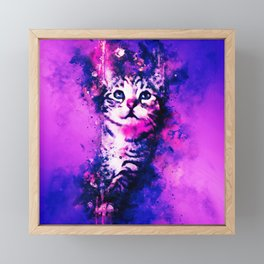 pianca baby cat kitten splatter watercolor purple pink Framed Mini Art Print