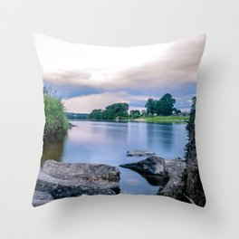Long Exposure Photo of The River Tay in Perth Scotland Throw Pillow